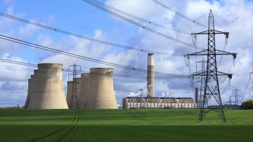 Cooling towers, pylons and countryside