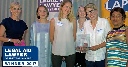 Picture of Law for Life team receiving Access to Justice through IT award at the LALYs 2017